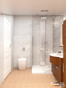 White flowers bathroom design