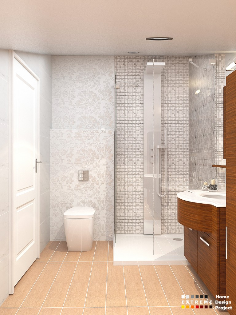 White flowers bathroom design