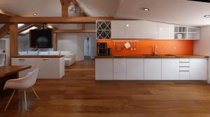Attic space kitchen