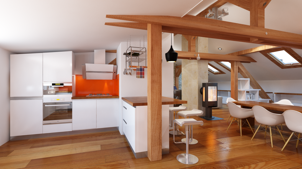 Attic space kitchen