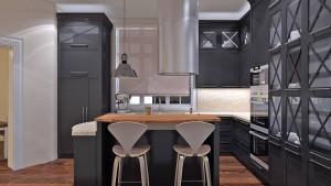 A shabby chic kitchen island