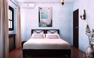 Bedroom blue decoration