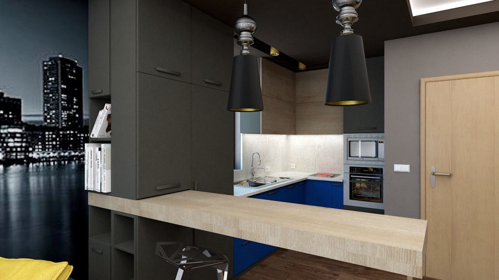 Masculine Appartment kitchen blue