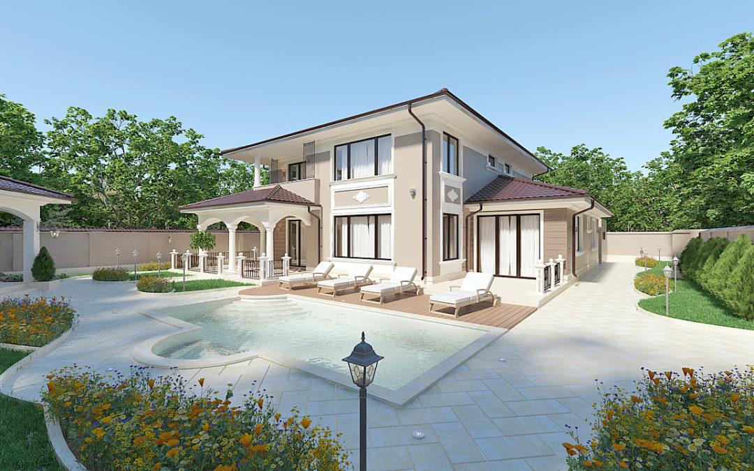 Класически дизайн на къща и двор