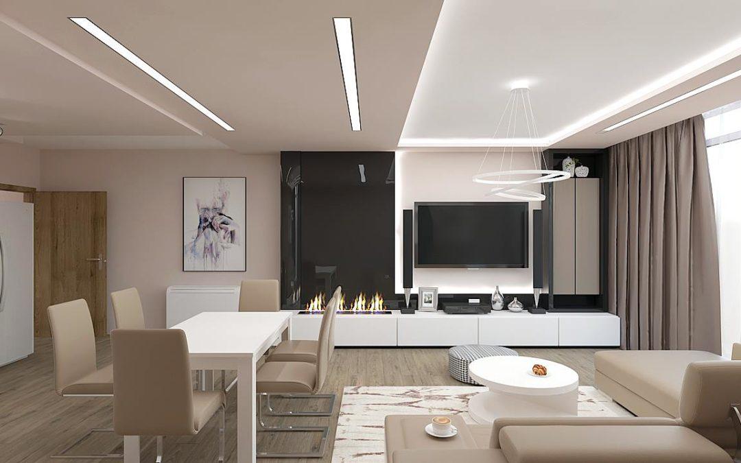 Дневна и кухня в светли тонове кафяво и бяло